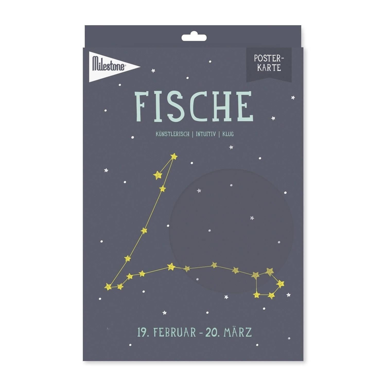 Milestone Poster Sterrenbeeld Vissen (De) A4-formaat Papier Donkerblauw/beige