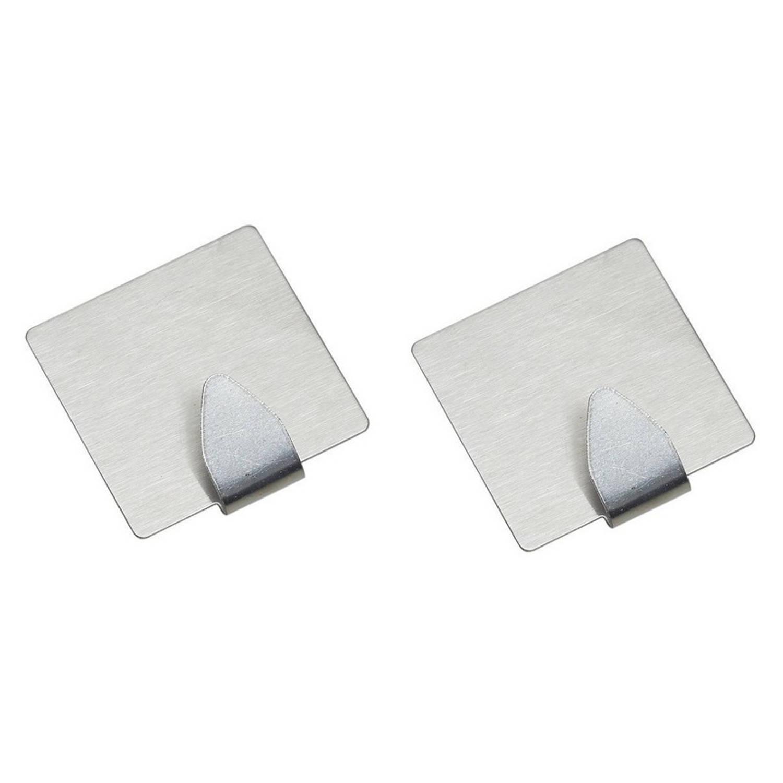 Korting 2x Rvs Grote Handdoekhaakjes Ophanghaakjes 5 X 5 Cm Vierkant Zelfklevende Haakjes