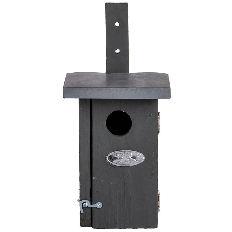 Merkloos Houten Grijze Vogelhuisje/nestkastje Winterkoning Tuindecoratie Vogelnest Nestkast Vogelhuisjes Tuindieren online kopen