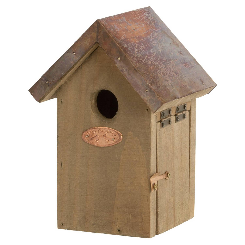 Merkloos Houten Vogelhuisje/nestkastje Winterkoning Koperen Dak Tuindecoratie Vogelnest Nestkast Vogelhuisjes Tuindieren online kopen