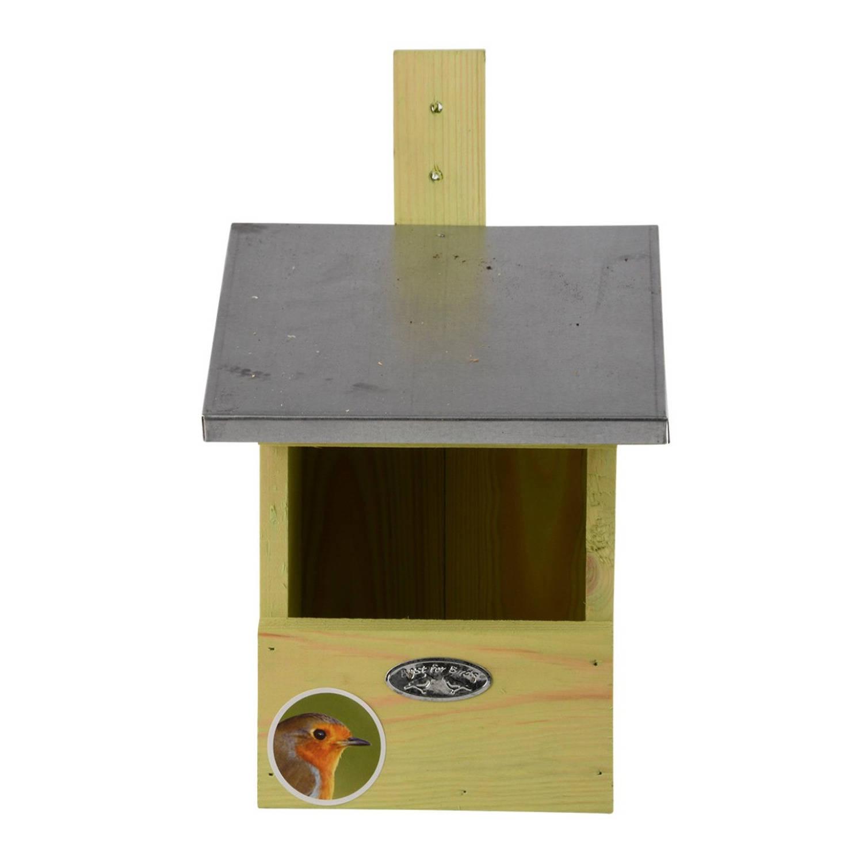Merkloos Houten Vogelhuisje/nestkastje Roodborstjes Tuindecoratie Vogelnest Nestkast Vogelhuisjes Tuindieren online kopen