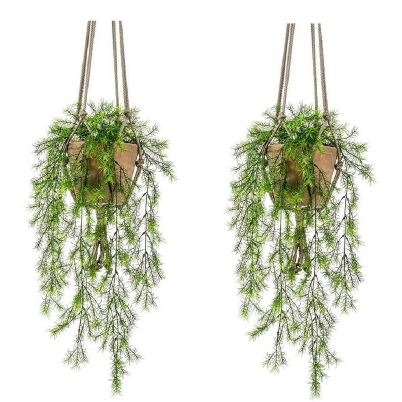 2x Kunstplant Hangplant Varens In Oude Terracotta Potten Van 16 Cm - Kunstplanten/nepplanten