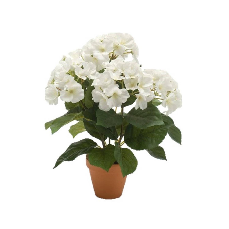 Kunstplant Hortensia Wit In Terracotta Pot 40 Cm - Kamerplant Witte Hortensia