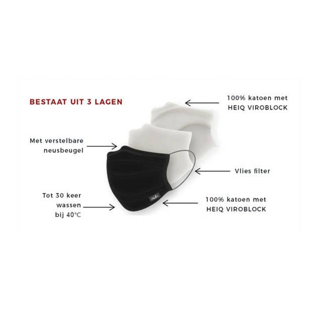 Viroblock Gezichtsmasker / Mondkapje - Rood - Nuts