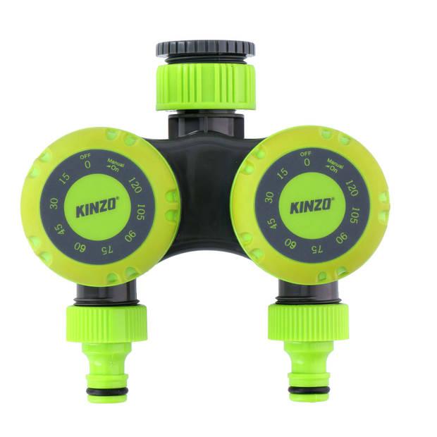 Kinzo Garden - mechanische dubbele kraantimer - voor 5 tot 120 min. water geven