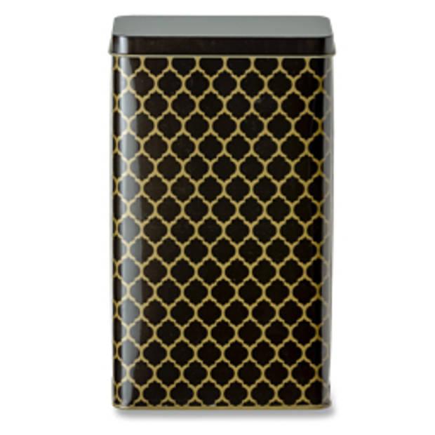 Blokker koffieblik ruit - 1.8L - tin - zwart