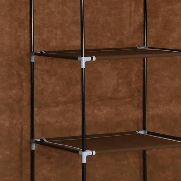 vidaXL Kledingkast met vakken en stangen 150x45x175 cm stof bruin
