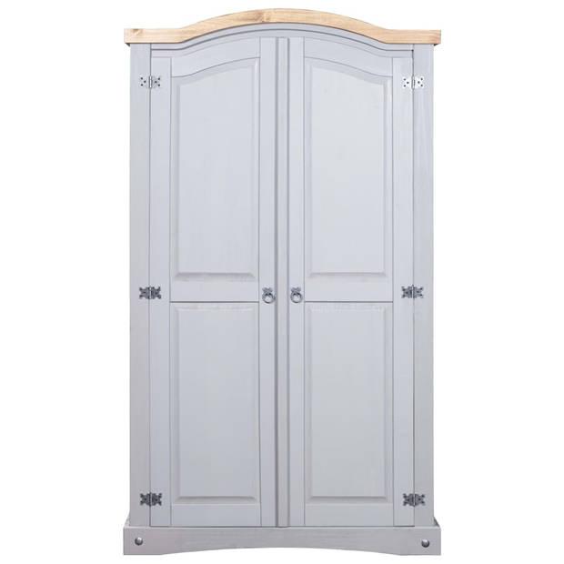 vidaXL Kledingkast 2 deuren Mexicaans grenenhout Corona-stijl grijs