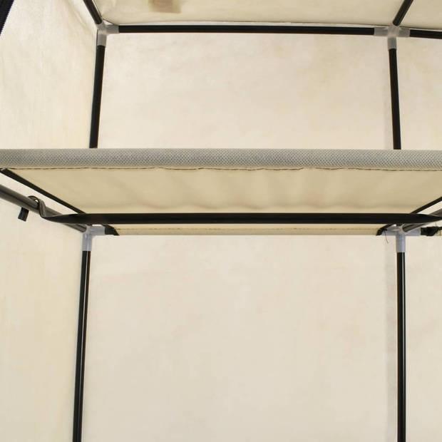 vidaXL Kledingkast met vakken en stangen 150x45x175 cm stof crème