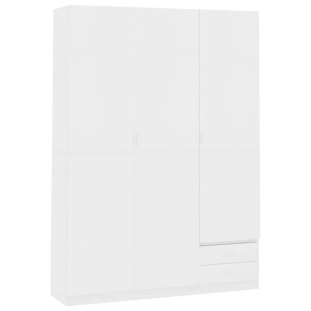 vidaXL Kledingkast 3-deurs 120x50x180 cm spaanplaat wit