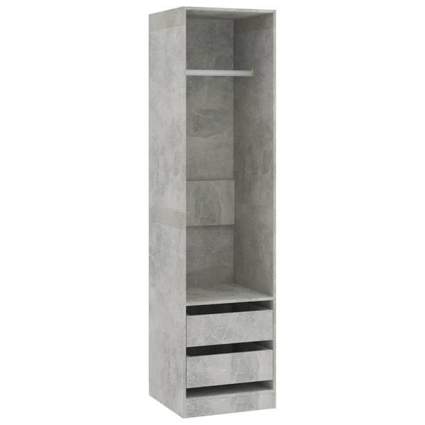 vidaXL Kledingkast met lades 50x50x200 cm spaanplaat betongrijs