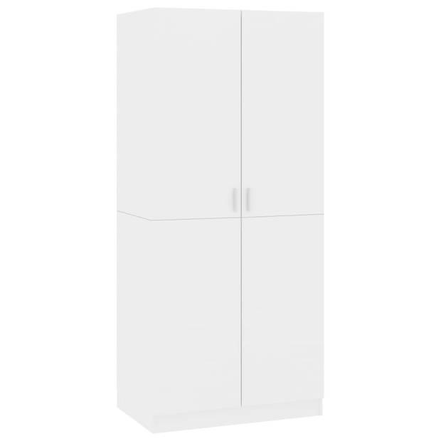 vidaXL Kledingkast 80x52x180 cm spaanplaat hoogglans wit