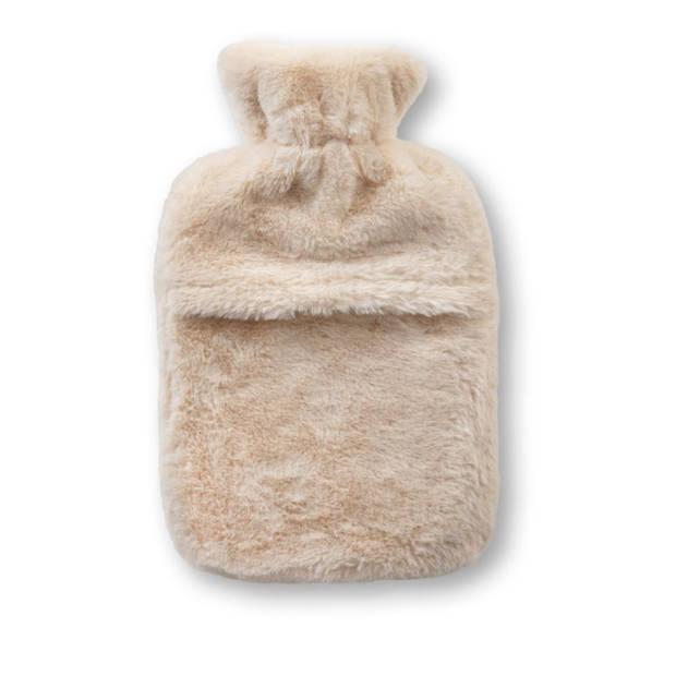 Rubberkruik met fleecehoes - wit - 1,9L