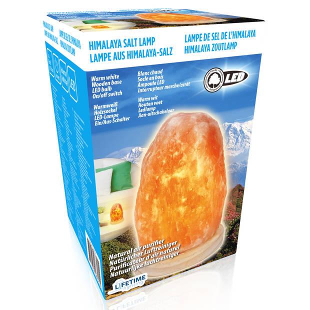Lifetime Lighting Himalaya zoutsteenlamp - LED - 13 x Ø8 cm - houten voet - natuurlijke luchtreiniger