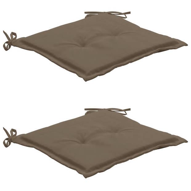 vidaXL Tuinstoelkussens 2 st 50x50x3 cm taupe