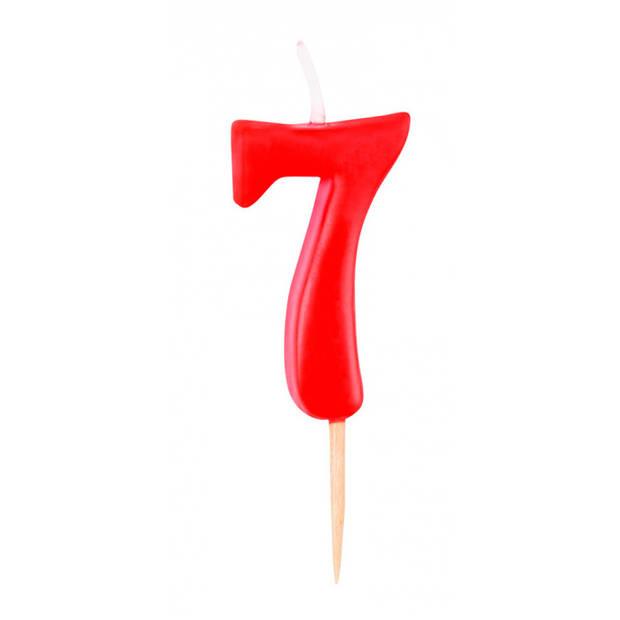 Boland cijferkaars 7 wax 14 cm rood