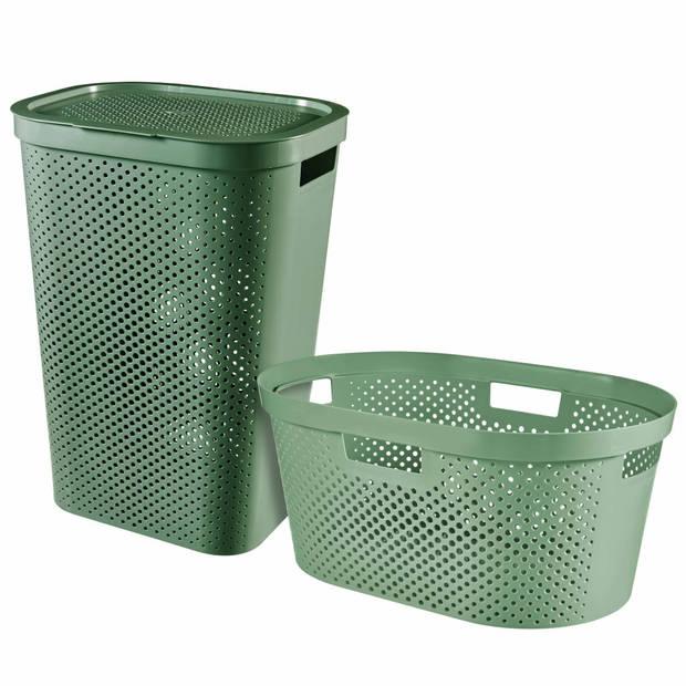 Curver 2-delige Wasboxen- en mandenset Infinity 40L+60L groen