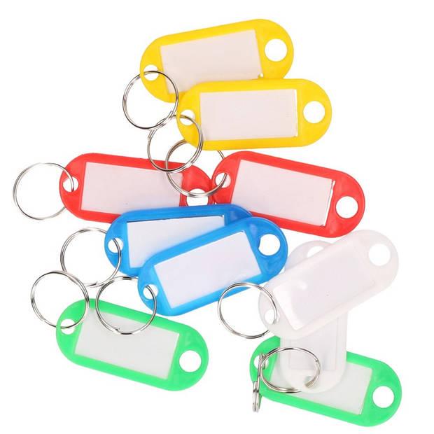 10x Gekleurde sleutellabels/sleutelhangers - Sleutelhangers - Sleutelhanger met eiket/label/schrijfvakje