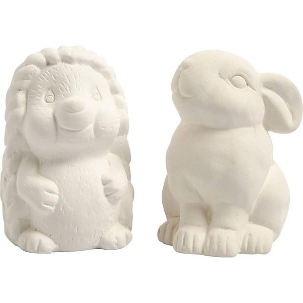 Creative dierenspaarpot egel en konijn 10 cm wit 2 stuks