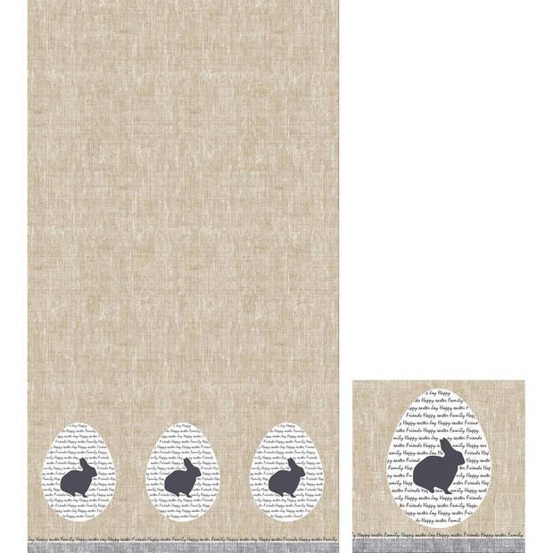 Pasen tafeldecoratie set konijn tafelkleed/servetten grijs/beige rustiek - Pasen thema papieren tafeldecoraties