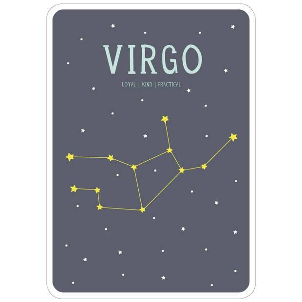 Milestone poster sterrenbeeld Maagd (ENG) A4-formaat papier grijs/beige