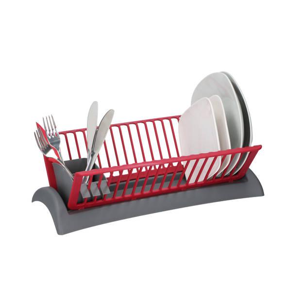 Alpina afdruiprek - 18 bordgleuven - lekbak - uitneembare bestekbak - grijs/ rood