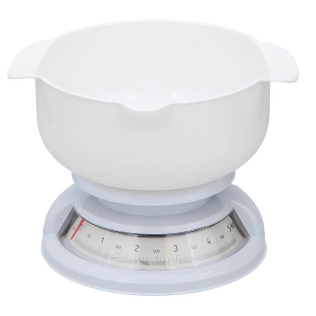 Alpina - Keukenweegschaal - Analoog - 5 KG - Met kom - Wit