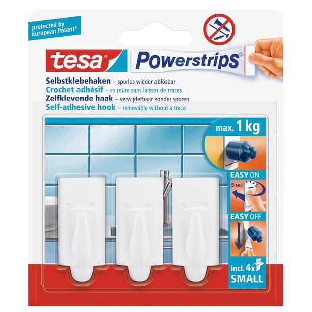 3x Tesa Powerstrips haken trend small - Klusbenodigdheden - Huishouden - Verwijderbare haken - Opplak haken 3 stuks