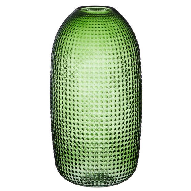 Ronde vaas groen glas 36 cm glas - Home Deco vazen - Woonaccessoires