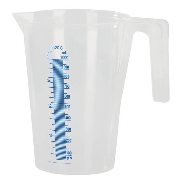 Kunststof maatbeker transparant 1 liter - Keuken accessoires en benodigdheden
