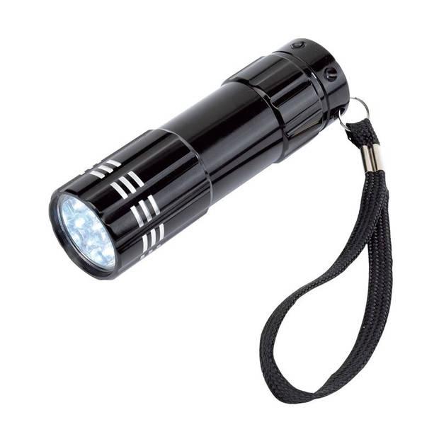 1x stuks kleine 9x LED krachtige zaklamp in het zwart van 9.5 cm - incl. batterijen en koordje