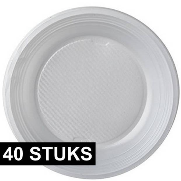 40x dessertbordjes/gebaksbordjes plastic 17 cm - herbruikbaar - Plastic bordjes voor o.a. gebak en toetjes