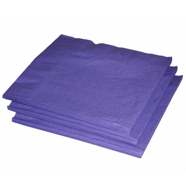 60x Paarse kleuren thema servetten 33 x 33 cm - Papieren wegwerp servetjes - Paarse versieringen/decoraties