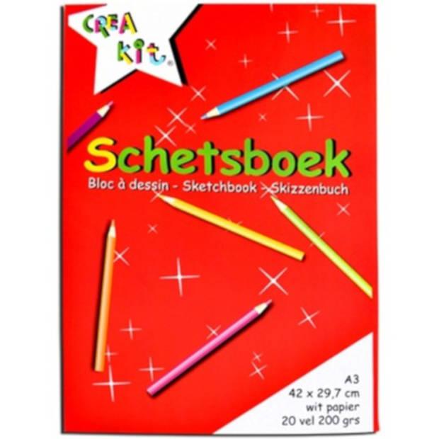 Crea-kit schetsblok junior A3 papier wit 20 vellen