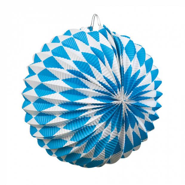 Boland lampionnen 22 cm papier/karton wit/blauw 2 stuks
