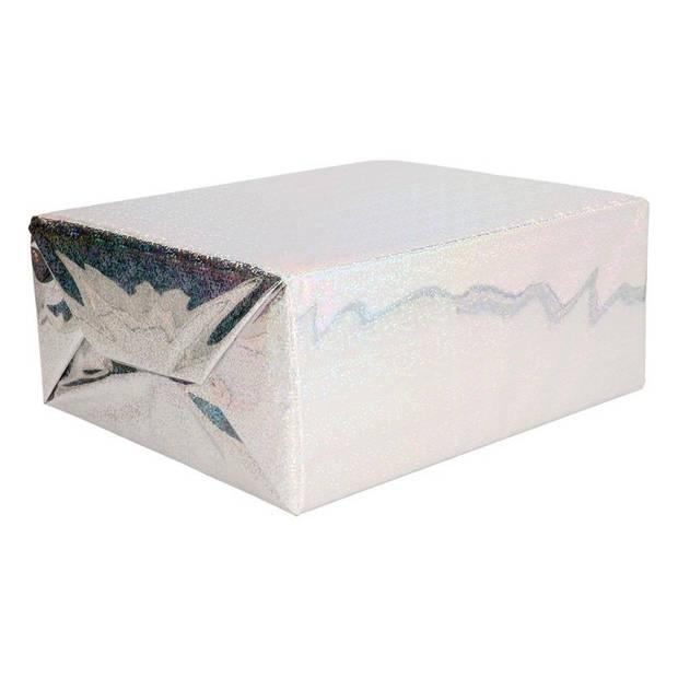 Holografisch inpakpapier /cadeaupapier paars metallic 70 x 150 cm - kadopapier