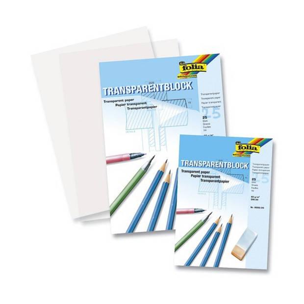 2x blokken A4 overtrekpapier / transparant tekenpapier - 25 vellen per stuk - 80 grams