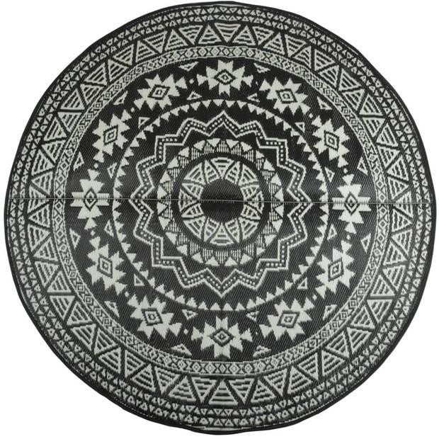 Esschert Design Buitenkleed 180 cm zwart en wit OC18
