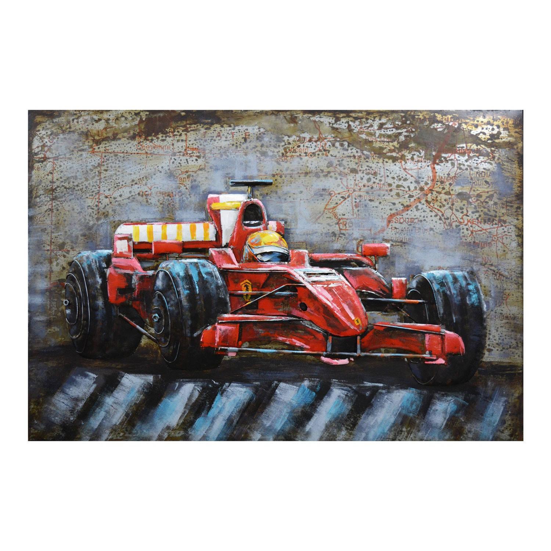Clayre & Eef Wanddecoratie F1 raceauto 120*6*80 cm Meerkleurig Ijzer Rechthoek Raceauto 5WA0170