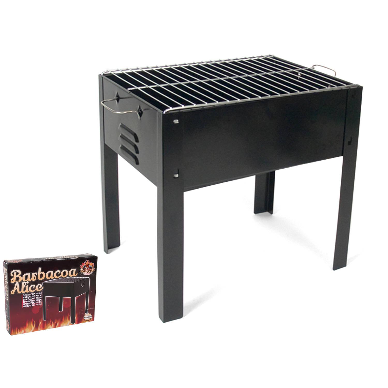 Gerimport - Houtskoolbarbecue model Alice - 35x24x35 - Compacte BBQ - Zwart