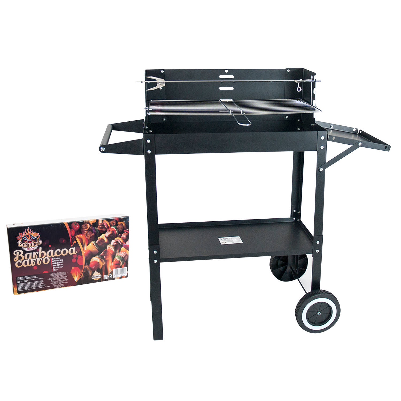 Gerimport - Verrijdbare Houtskoolbarbecue - met rooster en spit - BBQ Houtskool of Briketten - 81x27
