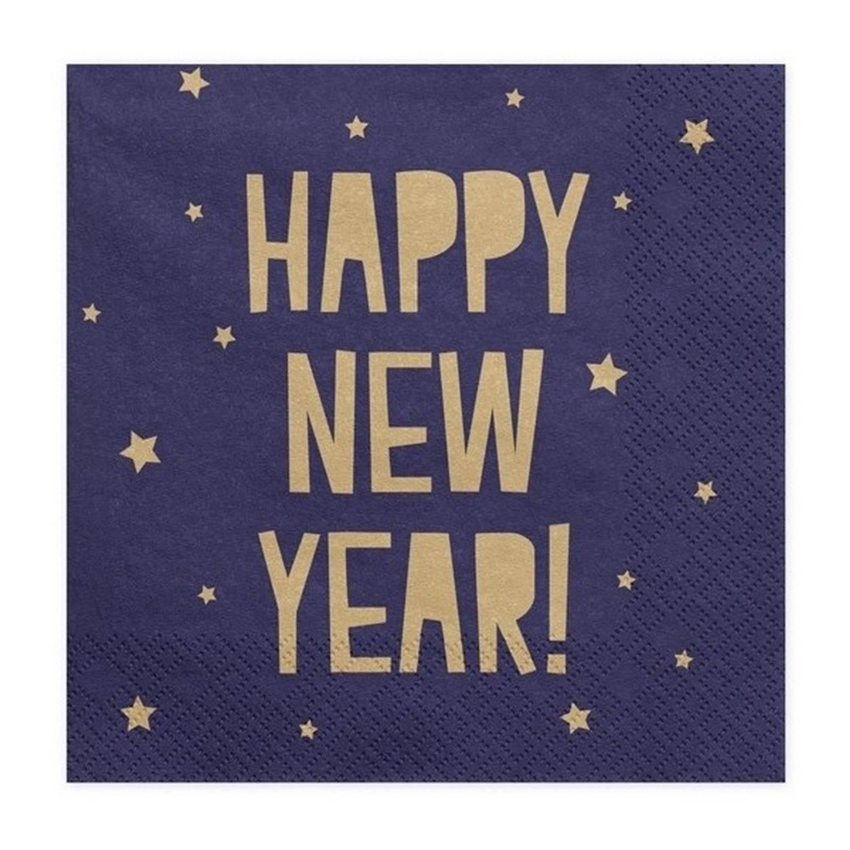 100x Blauwe Happy New Year Servetten 33 Cm Oud En Nieuw/nieuwjaar - Wegwerpservetten