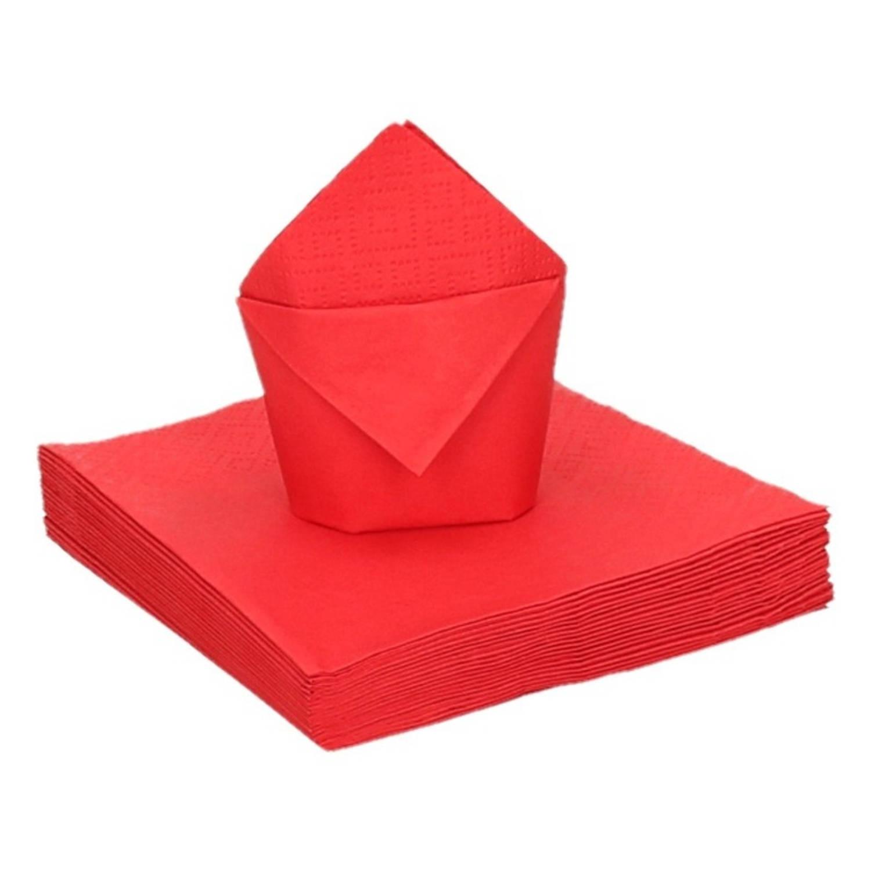 100x Rode Kleine Cocktail Servetten 25 X 25 Cm - Tafel Versiering Feestartikelen Rood