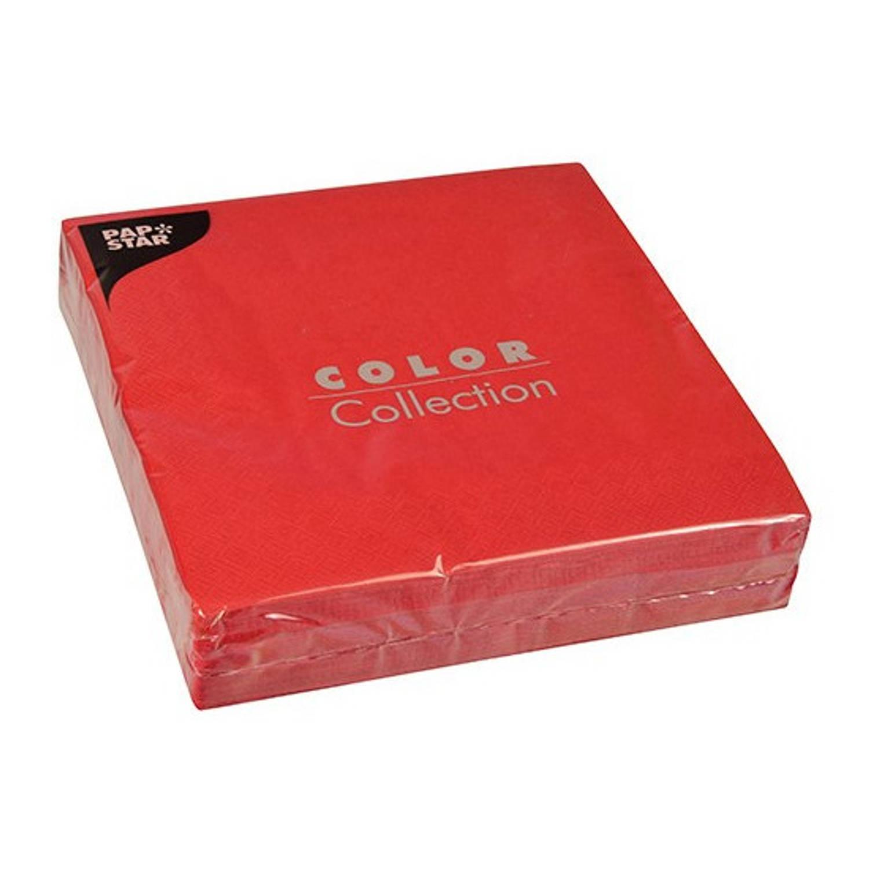 100x Servetten 40 X 40 Cm - Unikleur Rood Valentijn - Papieren Wegwerp Servetjes - Feest Versieringen/decoraties