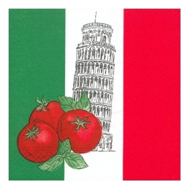 100x Italie Landen Thema Servetten 33 X 33 Cm - Papieren Wegwerp Servetjes - Italiaanse Versieringen/decoraties