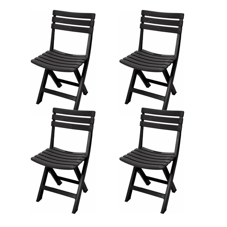Gerimport - Praktische Klapstoelen Set - 4 X Vouwstoel - Zwart - Praktisch - Inklapbaar - Tuin - Eet