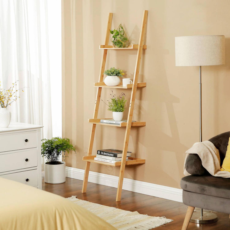 Ladderrek Van Bamboe Hout Houten Decoratie Ladder Open Ladderkast Blokker