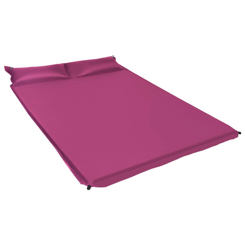 vidaXL Luchtmatras met kussen opblaasbaar 130x190 cm roze