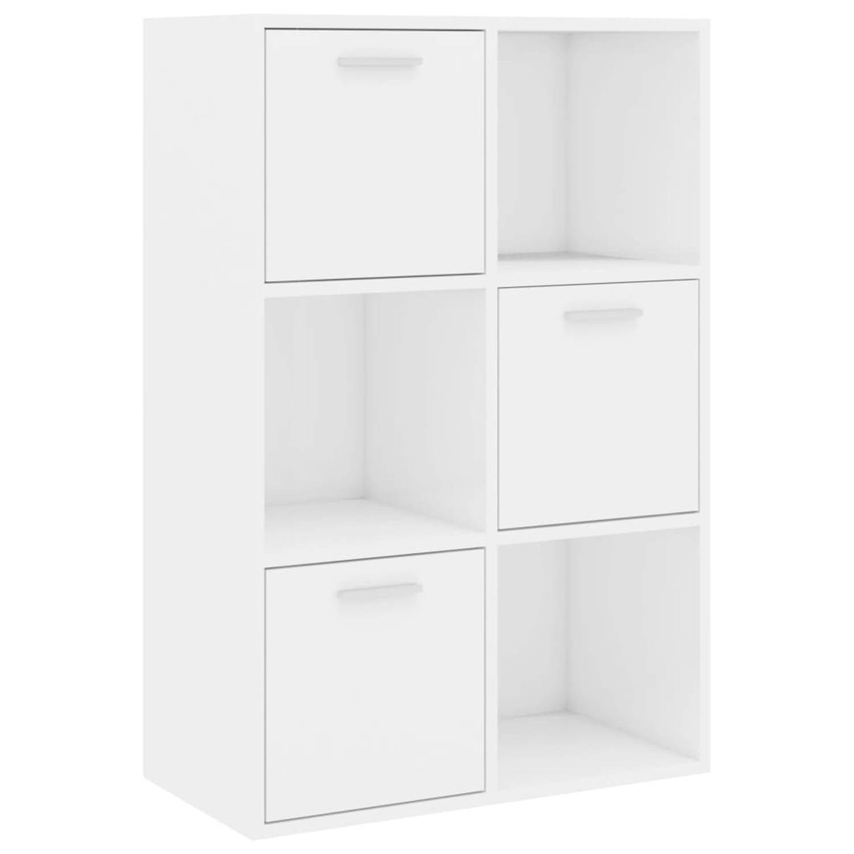 vidaXL Opbergkast 60x29,5x90 cm spaanplaat hoogglans wit