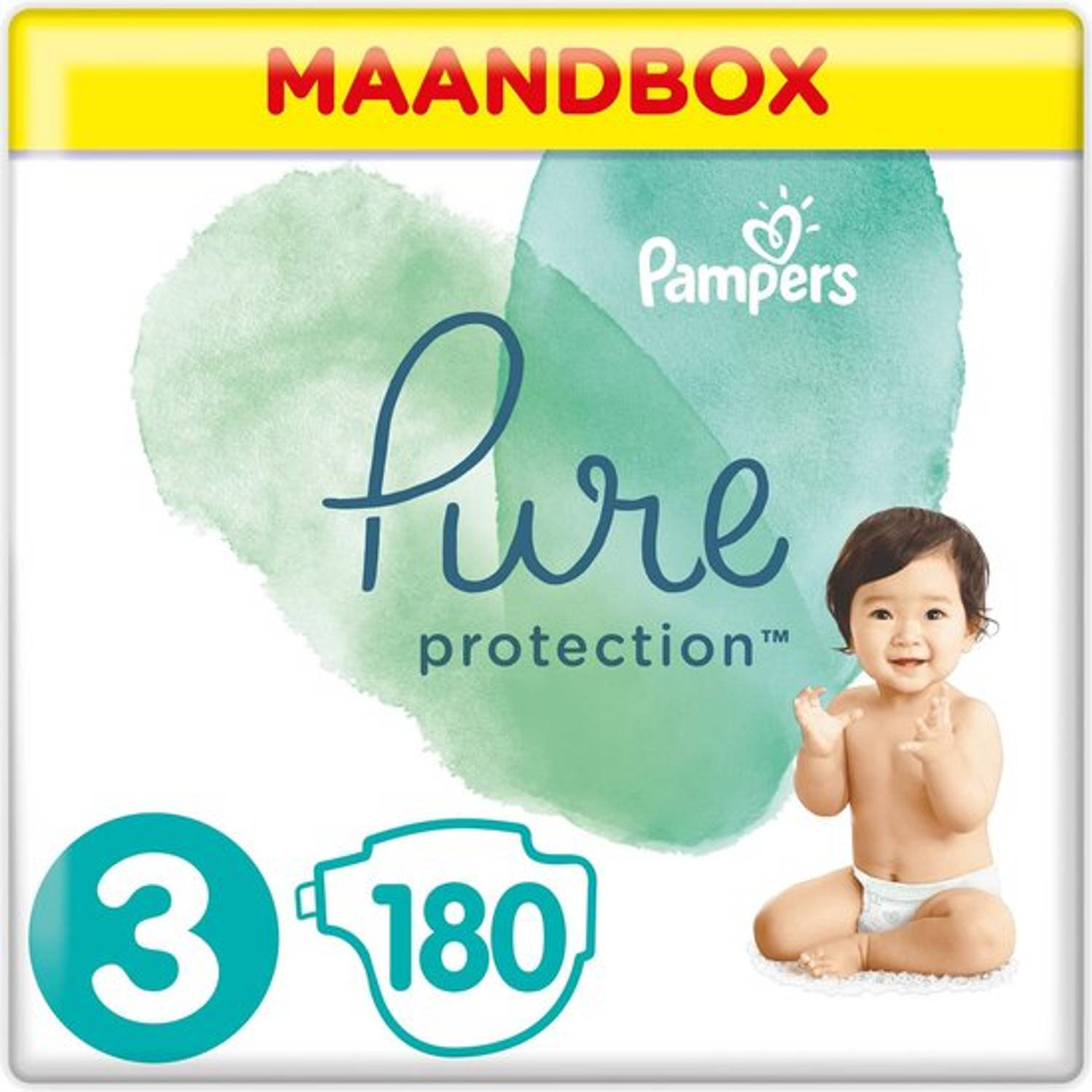 Pampers Pure Protection maandbox maat 3 (6-10 kg) 180 luiers